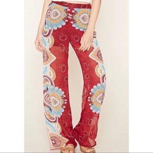 Forever 21 Ornate print wide leg pants
